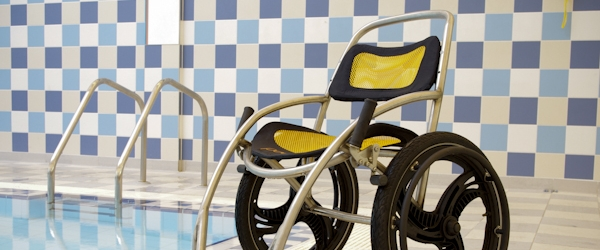Wheelchair specifically designed to be used by Poolpod users.
